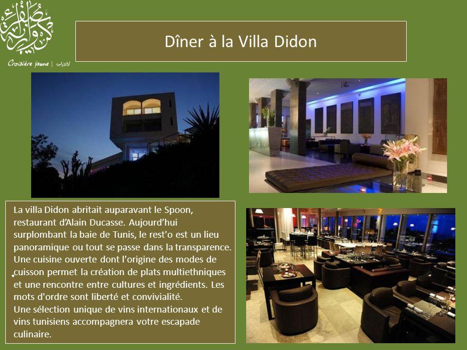 . La villa Didon abritait auparavant le Spoon, restaurant dAlain Ducasse. Aujourdhui surplombant la baie de Tunis, le rest'o est un lieu panoramique o