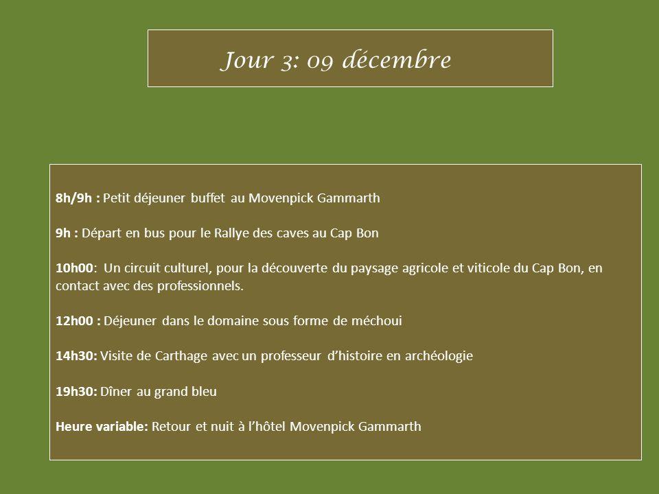 8h/9h : Petit déjeuner buffet au Movenpick Gammarth 9h : Départ en bus pour le Rallye des caves au Cap Bon 10h00: Un circuit culturel, pour la découve