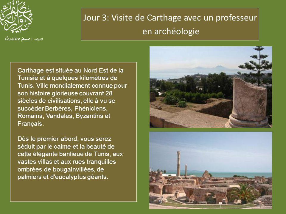 Jour 3: Visite de Carthage avec un professeur en archéologie Carthage est située au Nord Est de la Tunisie et à quelques kilomètres de Tunis. Ville mo