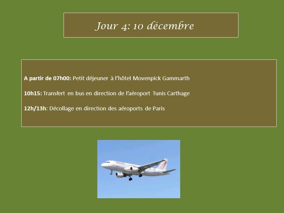 A partir de 07h00: Petit déjeuner à lhôtel Movenpick Gammarth 10h15: Transfert en bus en direction de laéroport Tunis Carthage 12h/13h: Décollage en d