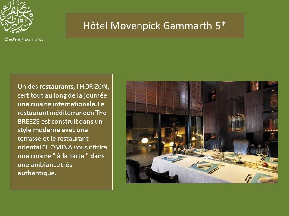 Hôtel Movenpick Gammarth 5* Un des restaurants, l'HORIZON, sert tout au long de la journée une cuisine internationale. Le restaurant méditerranéen The