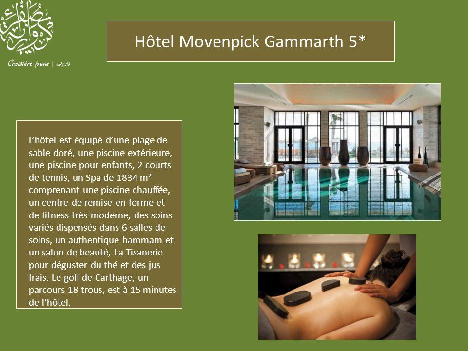Hôtel Movenpick Gammarth 5* Lhôtel est équipé dune plage de sable doré, une piscine extérieure, une piscine pour enfants, 2 courts de tennis, un Spa d
