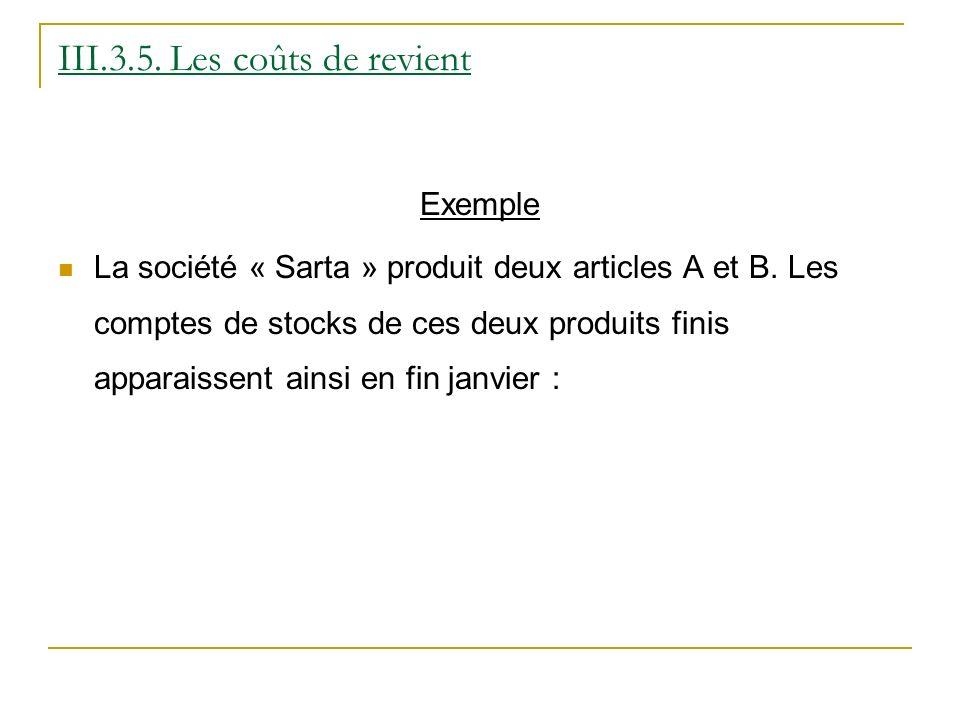 III.3.5. Les coûts de revient Exemple La société « Sarta » produit deux articles A et B. Les comptes de stocks de ces deux produits finis apparaissent