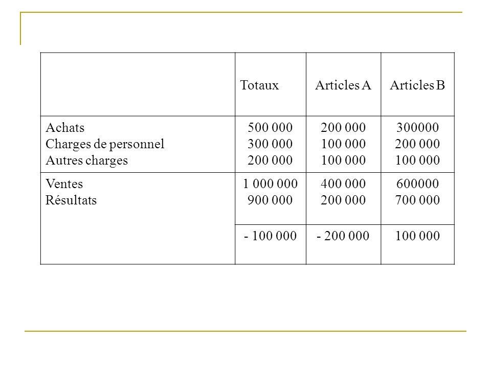 TotauxArticles AArticles B Achats Charges de personnel Autres charges 500 000 300 000 200 000 100 000 300000 200 000 100 000 Ventes Résultats 1 000 000 900 000 400 000 200 000 600000 700 000 - 100 000- 200 000100 000