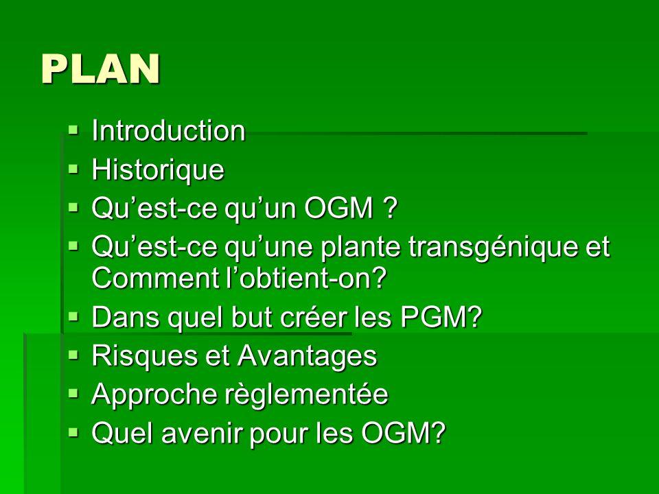 PLAN Introduction Introduction Historique Historique Quest-ce quun OGM ? Quest-ce quun OGM ? Quest-ce quune plante transgénique et Comment lobtient-on