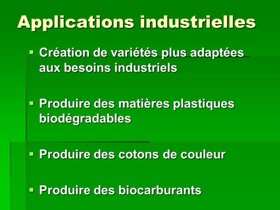 Applications industrielles Création de variétés plus adaptées aux besoins industriels Création de variétés plus adaptées aux besoins industriels Produ