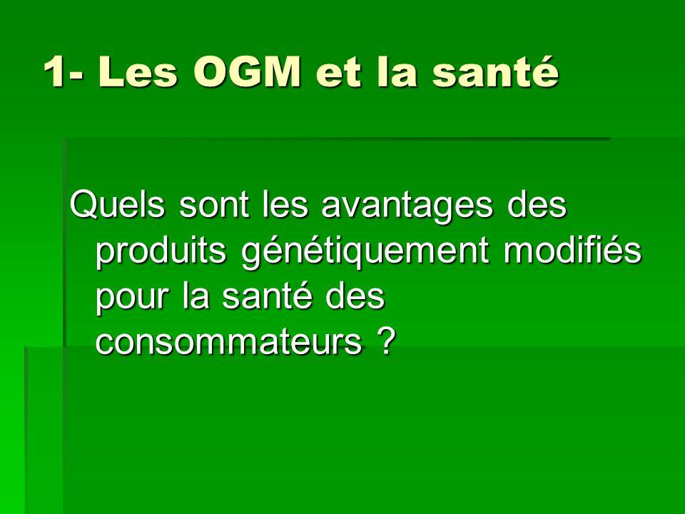 1- Les OGM et la santé 1- Les OGM et la santé Quels sont les avantages des produits génétiquement modifiés pour la santé des consommateurs ?