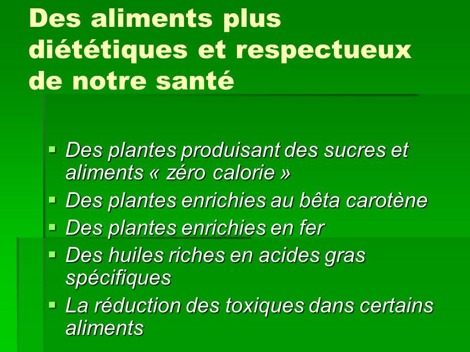 Des aliments plus diététiques et respectueux de notre santé Des plantes produisant des sucres et aliments « zéro calorie » Des plantes produisant des