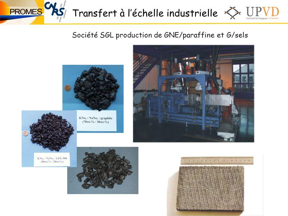 Transfert à léchelle industrielle Société SGL production de GNE/paraffine et G/sels