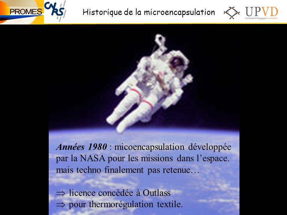 Années 1980 : micoencapsulation développée par la NASA pour les missions dans lespace.