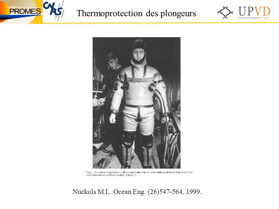 Thermoprotection des plongeurs Nuckols M.L. Ocean Eng. (26)547-564, 1999.