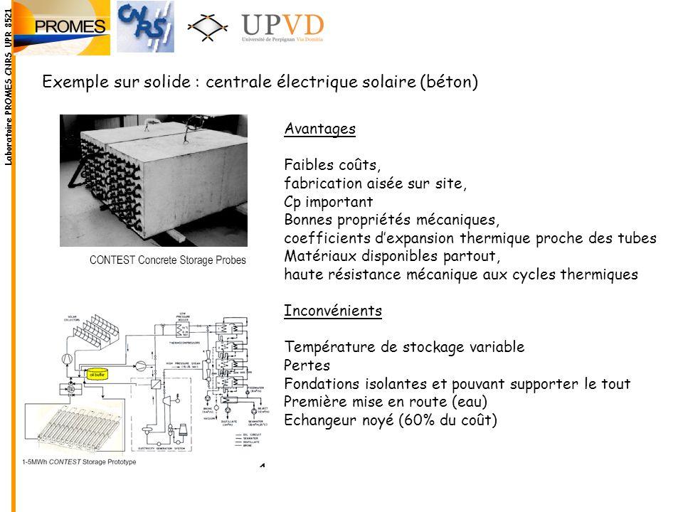 Exemple sur solide : centrale électrique solaire (béton) Avantages Faibles coûts, fabrication aisée sur site, Cp important Bonnes propriétés mécanique