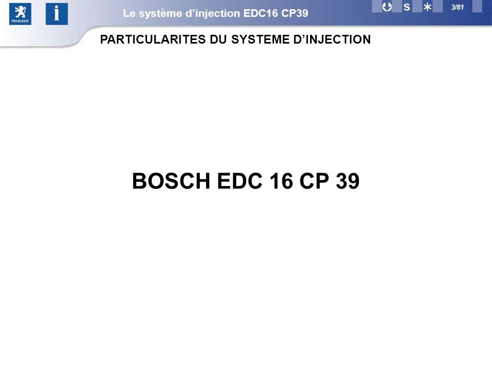 3/81 PARTICULARITES DU SYSTEME DINJECTION Le système dinjection EDC16 CP39 BOSCH EDC 16 CP 39