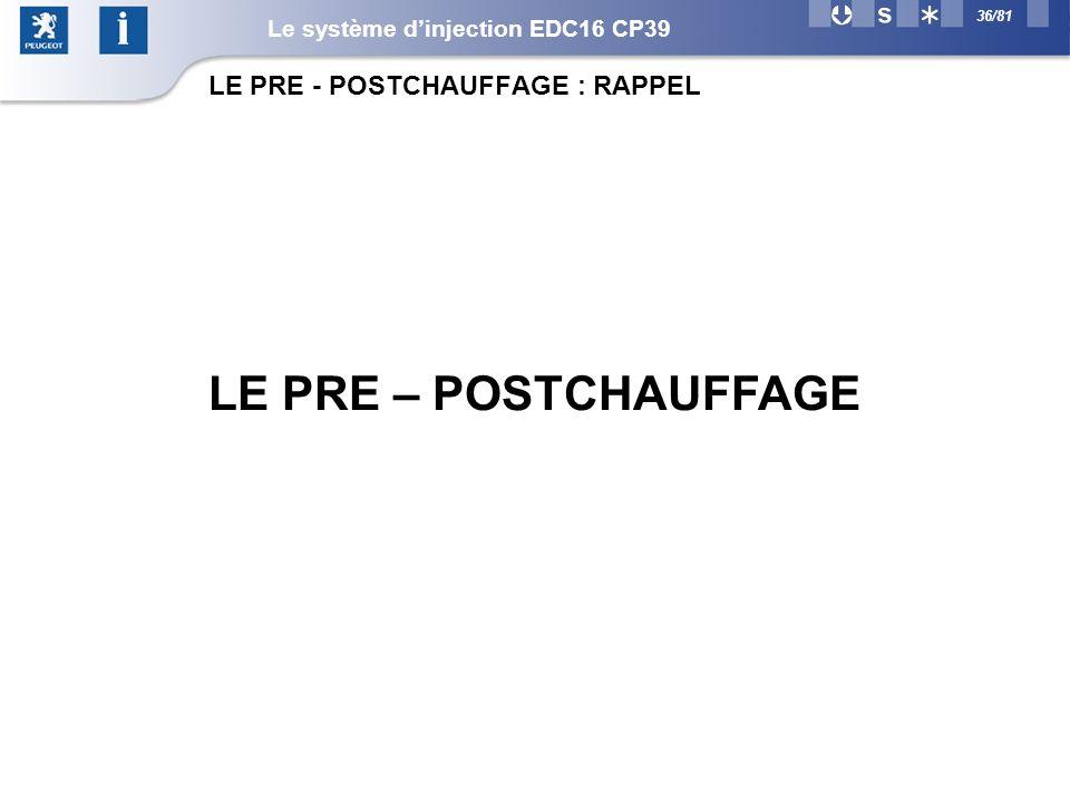 36/81 LE PRE – POSTCHAUFFAGE LE PRE - POSTCHAUFFAGE : RAPPEL Le système dinjection EDC16 CP39