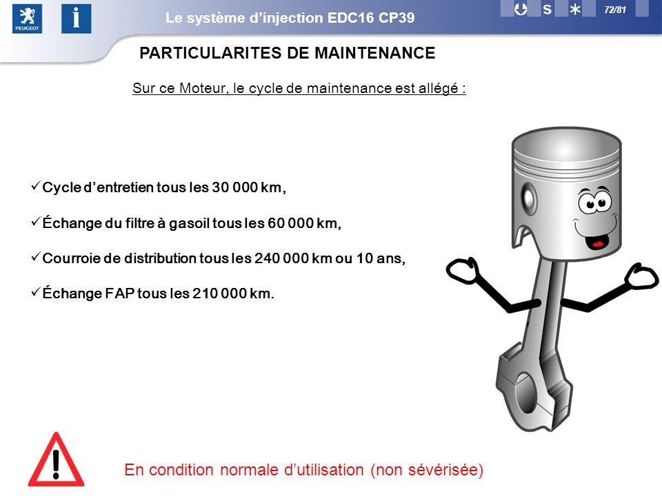 72/81 Sur ce Moteur, le cycle de maintenance est allégé : Cycle dentretien tous les 30 000 km, Échange du filtre à gasoil tous les 60 000 km, Courroie de distribution tous les 240 000 km ou 10 ans, Échange FAP tous les 210 000 km.