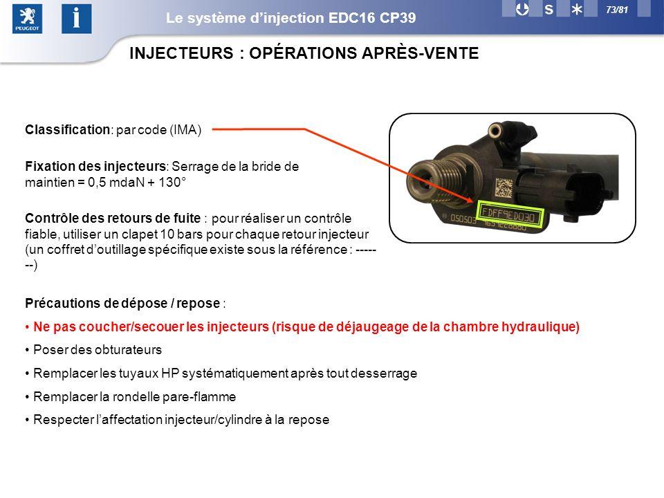 73/81 INJECTEURS : OPÉRATIONS APRÈS-VENTE Classification: par code (IMA) Fixation des injecteurs: Serrage de la bride de maintien = 0,5 mdaN + 130° Contrôle des retours de fuite : pour réaliser un contrôle fiable, utiliser un clapet 10 bars pour chaque retour injecteur (un coffret doutillage spécifique existe sous la référence : ----- --) Précautions de dépose / repose : Ne pas coucher/secouer les injecteurs (risque de déjaugeage de la chambre hydraulique) Poser des obturateurs Remplacer les tuyaux HP systématiquement après tout desserrage Remplacer la rondelle pare-flamme Respecter laffectation injecteur/cylindre à la repose Le système dinjection EDC16 CP39