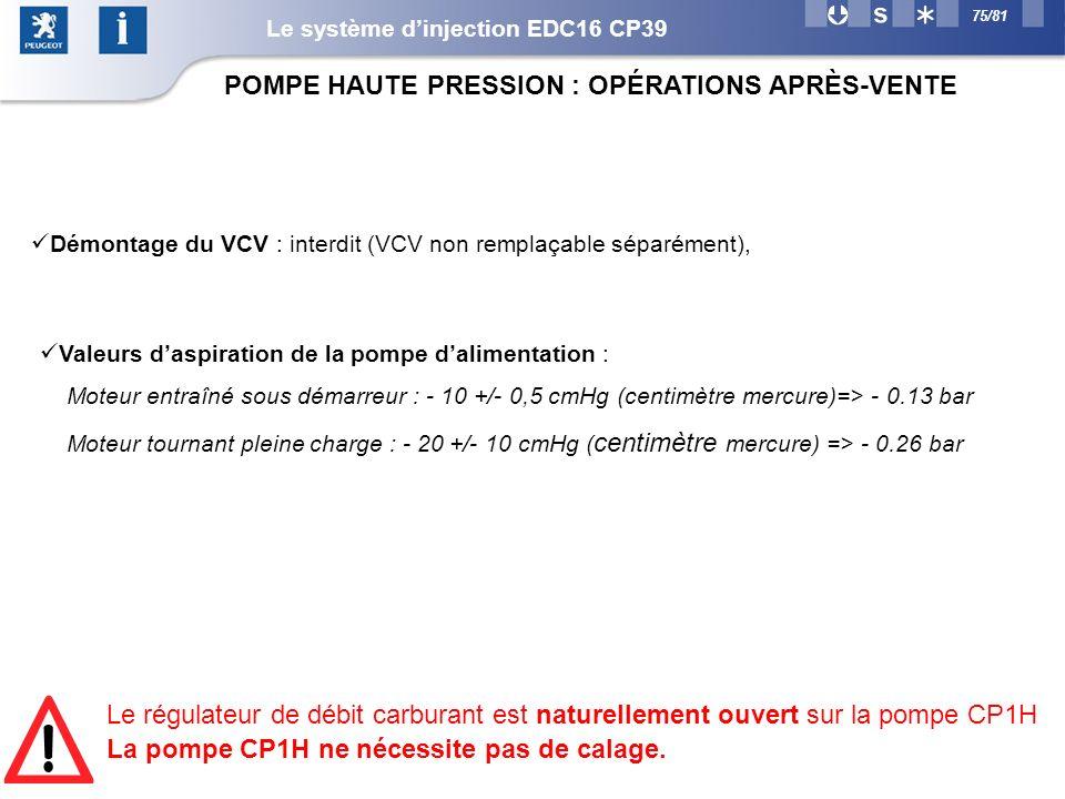 75/81 POMPE HAUTE PRESSION : OPÉRATIONS APRÈS-VENTE Démontage du VCV : interdit (VCV non remplaçable séparément), Valeurs daspiration de la pompe dalimentation : Moteur entraîné sous démarreur : - 10 +/- 0,5 cmHg (centimètre mercure)=> - 0.13 bar Moteur tournant pleine charge : - 20 +/- 10 cmHg ( centimètre mercure) => - 0.26 bar Le régulateur de débit carburant est naturellement ouvert sur la pompe CP1H La pompe CP1H ne nécessite pas de calage.