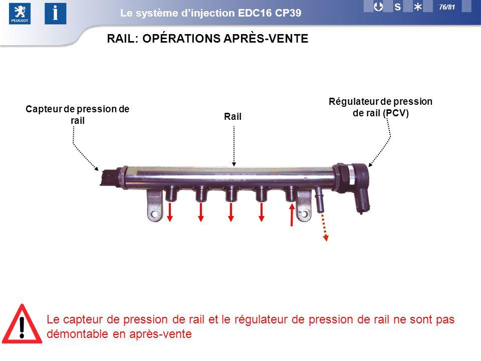 76/81 RAIL: OPÉRATIONS APRÈS-VENTE Capteur de pression de rail Régulateur de pression de rail (PCV) Rail Le capteur de pression de rail et le régulateur de pression de rail ne sont pas démontable en après-vente Le système dinjection EDC16 CP39
