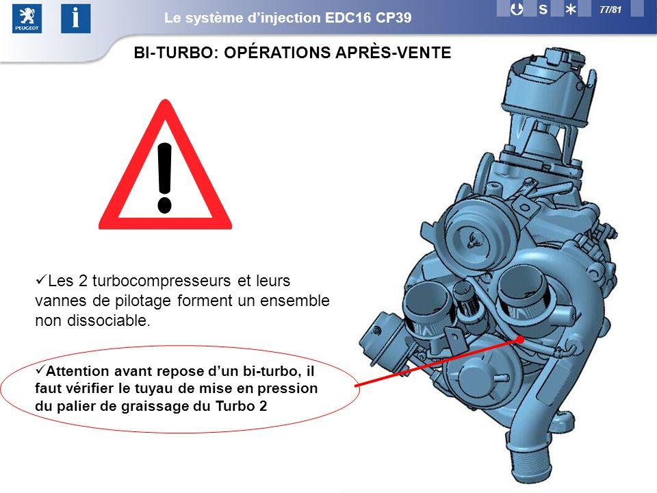 77/81 Attention avant repose dun bi-turbo, il faut vérifier le tuyau de mise en pression du palier de graissage du Turbo 2 Les 2 turbocompresseurs et leurs vannes de pilotage forment un ensemble non dissociable.