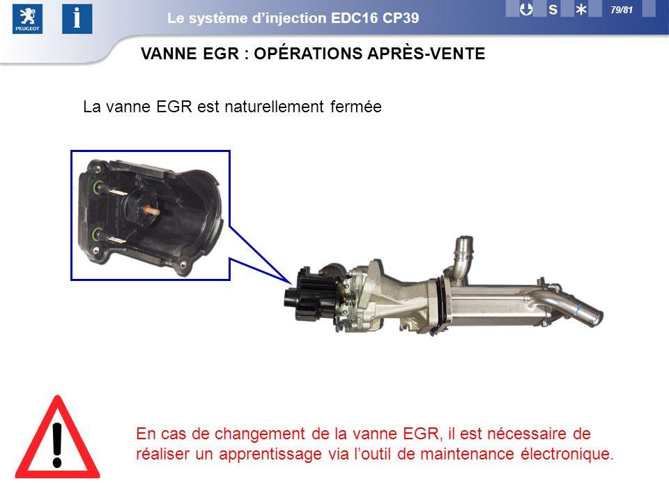 79/81 La vanne EGR est naturellement fermée En cas de changement de la vanne EGR, il est nécessaire de réaliser un apprentissage via loutil de maintenance électronique.