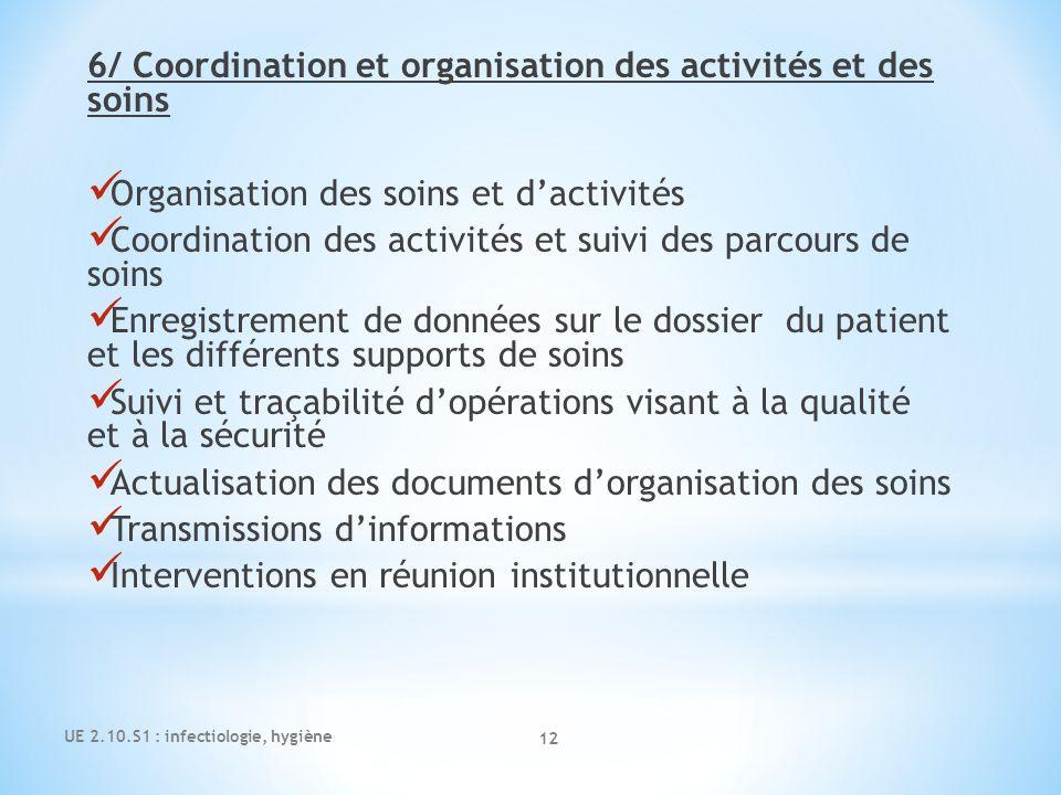 UE 2.10.S1 : infectiologie, hygiène 12 6/ Coordination et organisation des activités et des soins Organisation des soins et dactivités Coordination de
