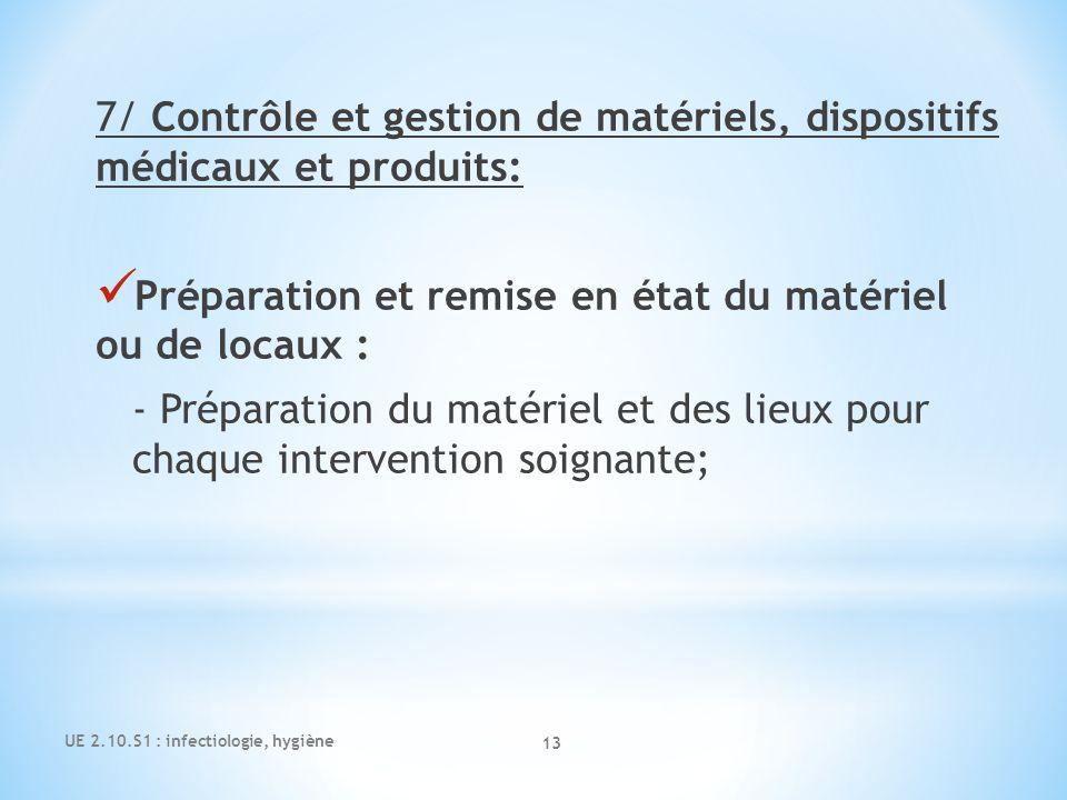 7/ Contrôle et gestion de matériels, dispositifs médicaux et produits: Préparation et remise en état du matériel ou de locaux : - Préparation du matér