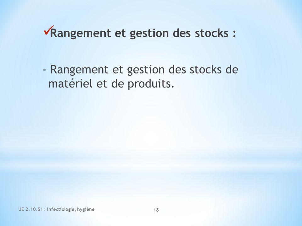 Rangement et gestion des stocks : - Rangement et gestion des stocks de matériel et de produits. UE 2.10.S1 : infectiologie, hygiène 18