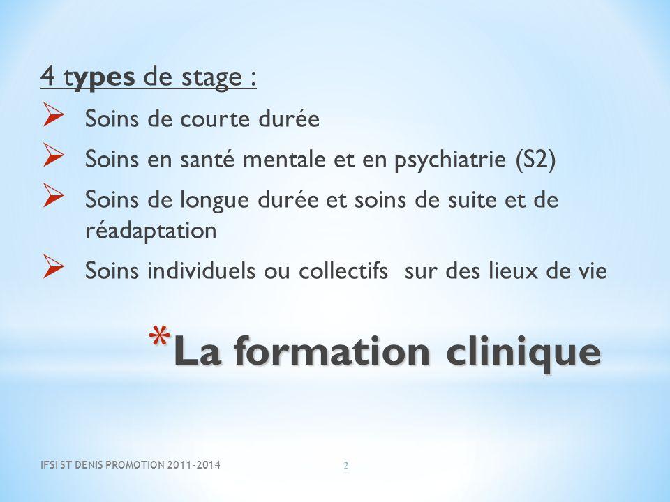 * La formation clinique 4 types de stage : Soins de courte durée Soins en santé mentale et en psychiatrie (S2) Soins de longue durée et soins de suite