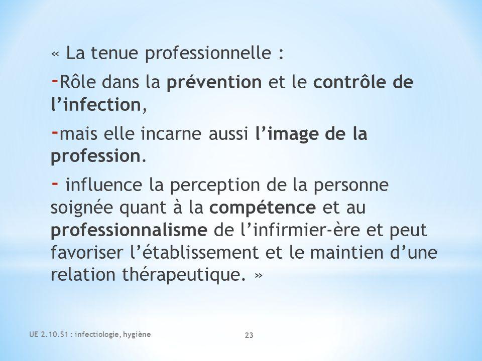 « La tenue professionnelle : - Rôle dans la prévention et le contrôle de linfection, - mais elle incarne aussi limage de la profession. - influence la