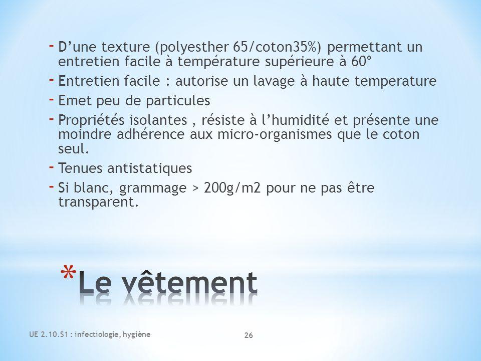 UE 2.10.S1 : infectiologie, hygiène 26 - Dune texture (polyesther 65/coton35%) permettant un entretien facile à température supérieure à 60° - Entreti