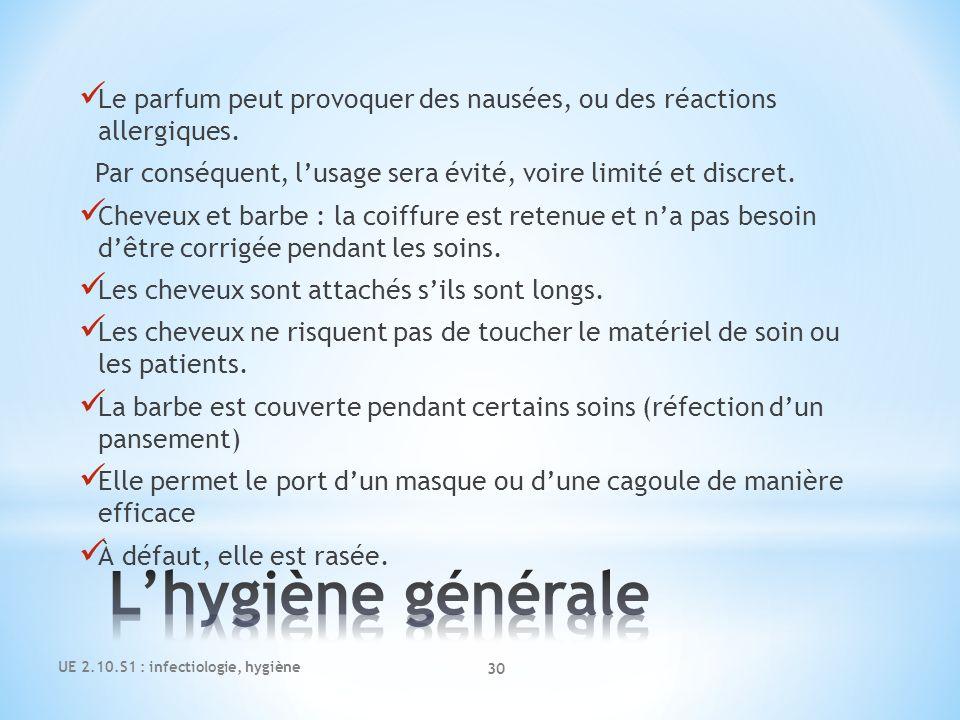 UE 2.10.S1 : infectiologie, hygiène 30 Le parfum peut provoquer des nausées, ou des réactions allergiques. Par conséquent, lusage sera évité, voire li