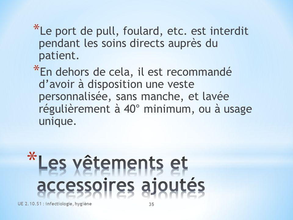 UE 2.10.S1 : infectiologie, hygiène 35 * Le port de pull, foulard, etc. est interdit pendant les soins directs auprès du patient. * En dehors de cela,