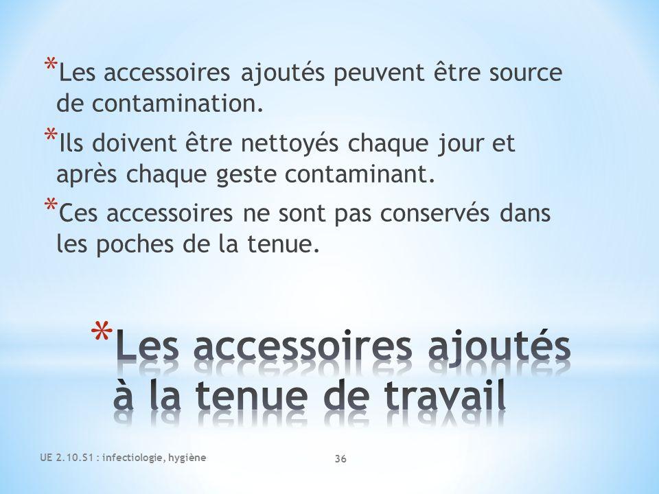 UE 2.10.S1 : infectiologie, hygiène 36 * Les accessoires ajoutés peuvent être source de contamination. * Ils doivent être nettoyés chaque jour et aprè