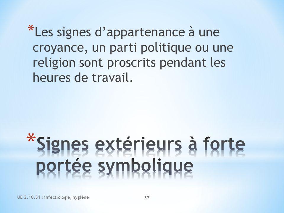 UE 2.10.S1 : infectiologie, hygiène 37 * Les signes dappartenance à une croyance, un parti politique ou une religion sont proscrits pendant les heures