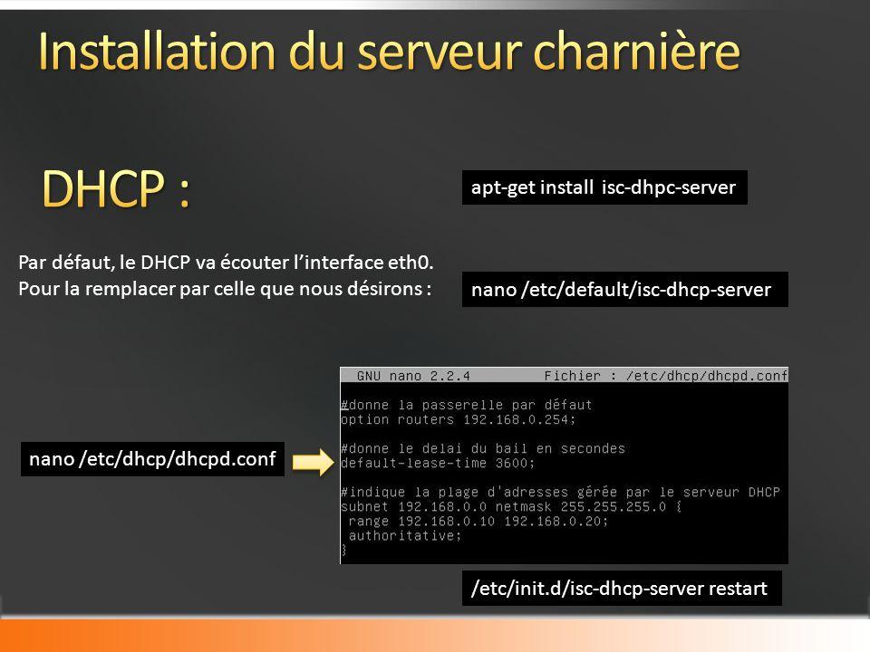 apt-get install isc-dhpc-server nano /etc/dhcp/dhcpd.conf /etc/init.d/isc-dhcp-server restart Par défaut, le DHCP va écouter linterface eth0.