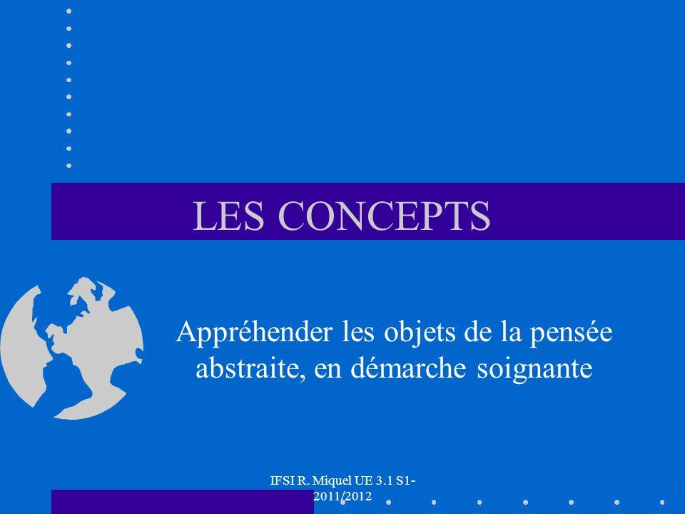 IFSI R. Miquel UE 3.1 S1- 2011/2012 LES CONCEPTS Appréhender les objets de la pensée abstraite, en démarche soignante