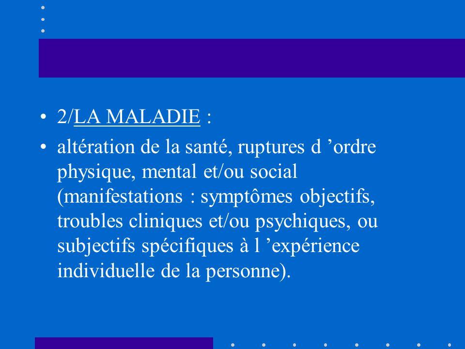 2/LA MALADIE : altération de la santé, ruptures d ordre physique, mental et/ou social (manifestations : symptômes objectifs, troubles cliniques et/ou