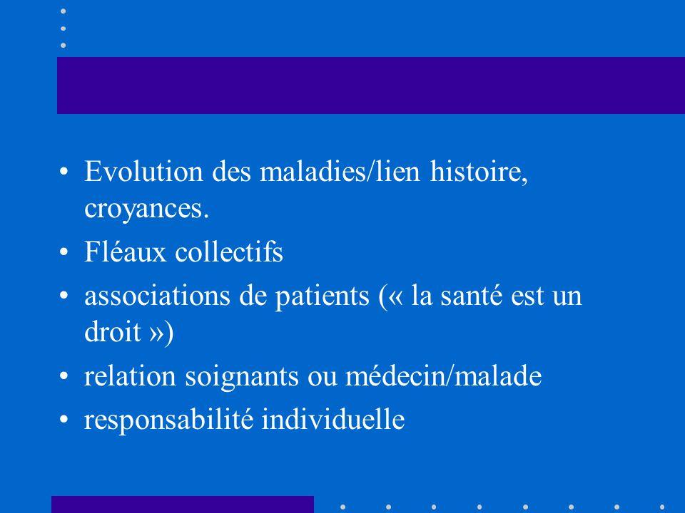 Evolution des maladies/lien histoire, croyances. Fléaux collectifs associations de patients (« la santé est un droit ») relation soignants ou médecin/