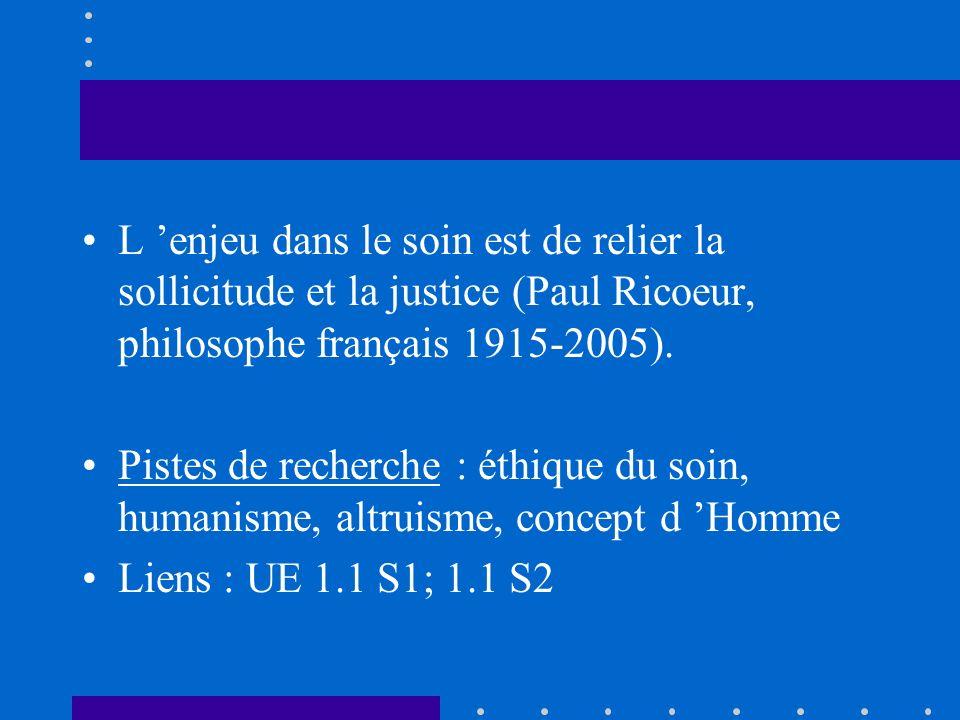 L enjeu dans le soin est de relier la sollicitude et la justice (Paul Ricoeur, philosophe français 1915-2005). Pistes de recherche : éthique du soin,