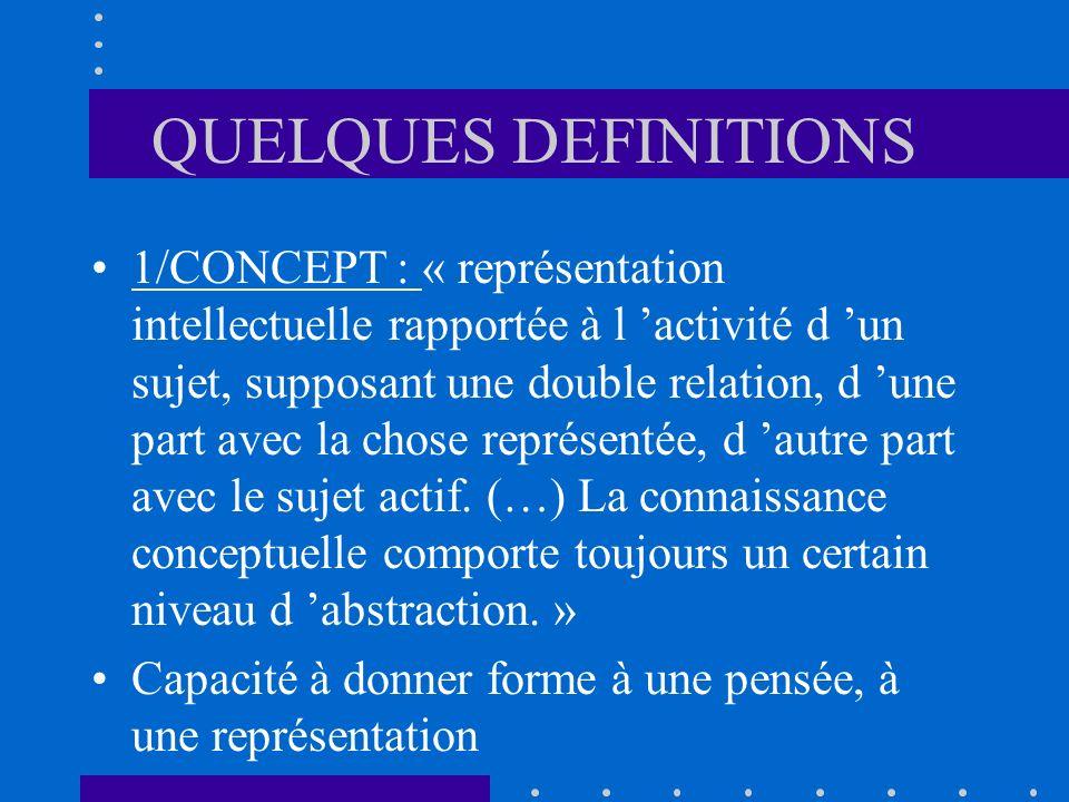 QUELQUES DEFINITIONS 1/CONCEPT : « représentation intellectuelle rapportée à l activité d un sujet, supposant une double relation, d une part avec la