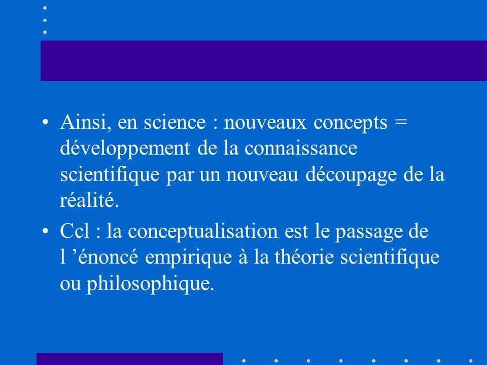 Ainsi, en science : nouveaux concepts = développement de la connaissance scientifique par un nouveau découpage de la réalité. Ccl : la conceptualisati