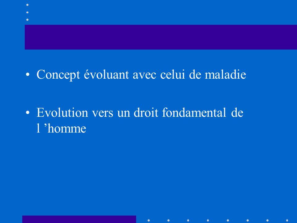 Concept évoluant avec celui de maladie Evolution vers un droit fondamental de l homme