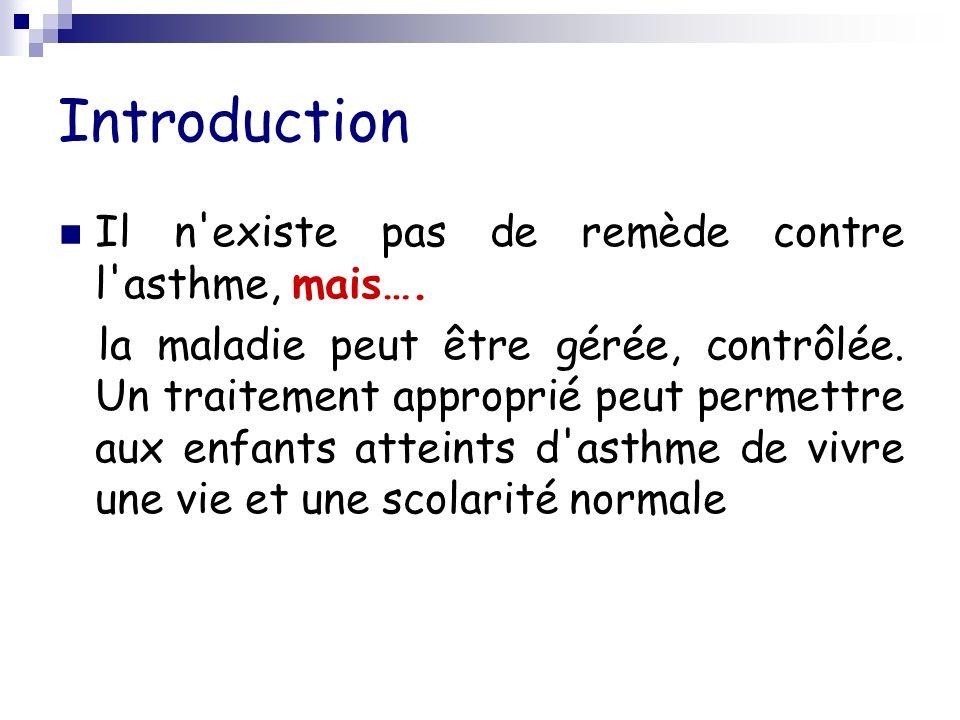 Introduction Il n existe pas de remède contre l asthme, mais….