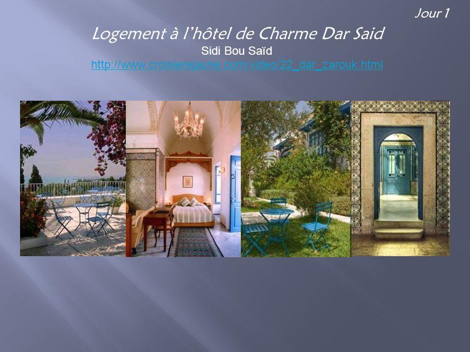 Logement à lhôtel de Charme Dar Said Sidi Bou Saïd http://www.croisierejaune.com/video/22_dar_zarouk.html Jour 1