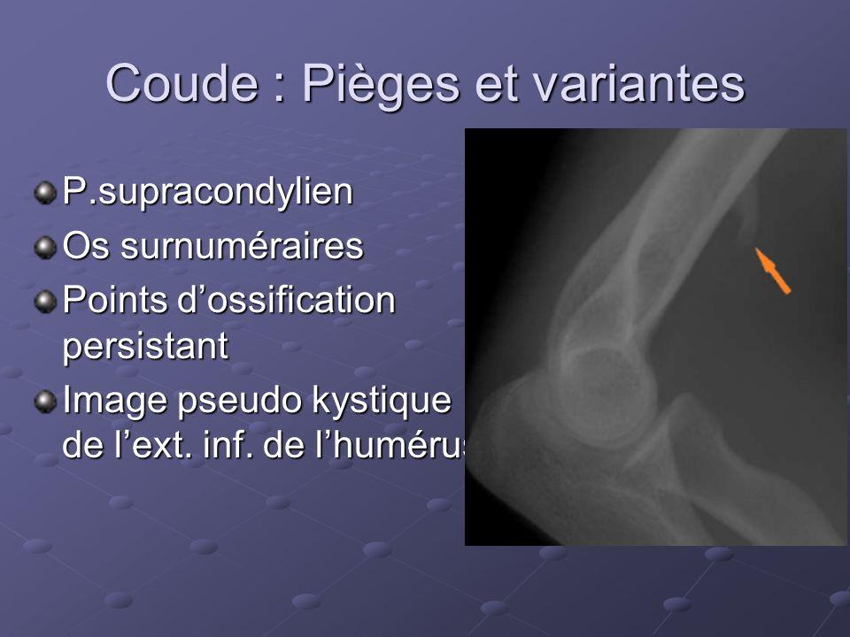 Coude : Pièges et variantes P.supracondylien Os surnuméraires Points dossification persistant Image pseudo kystique de lext.