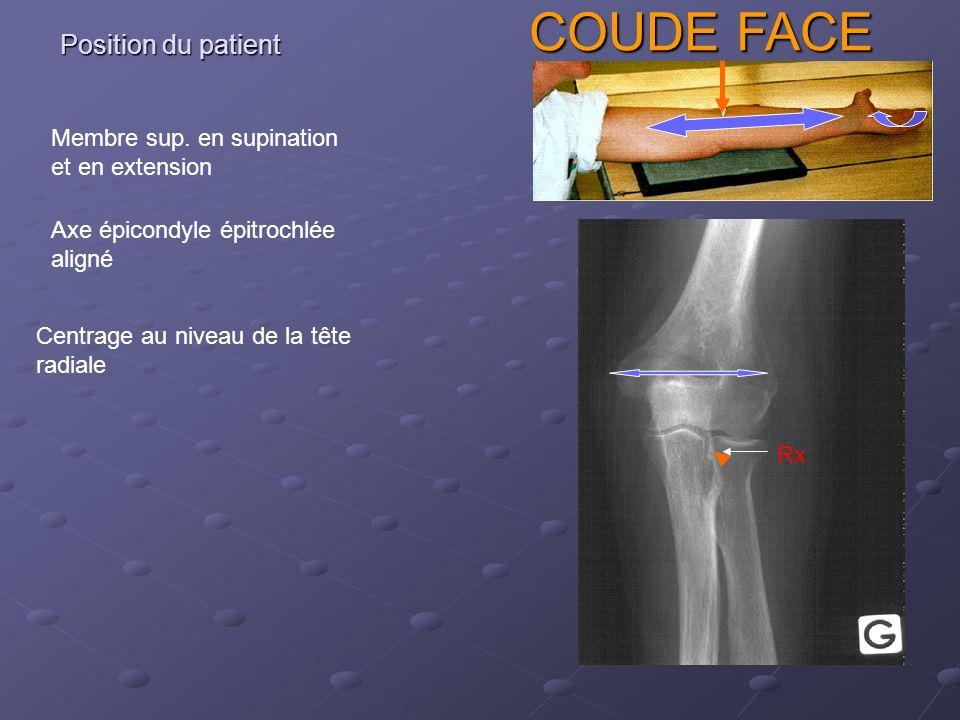 Position du patient Centrage au niveau de la tête radiale COUDE FACE Membre sup.
