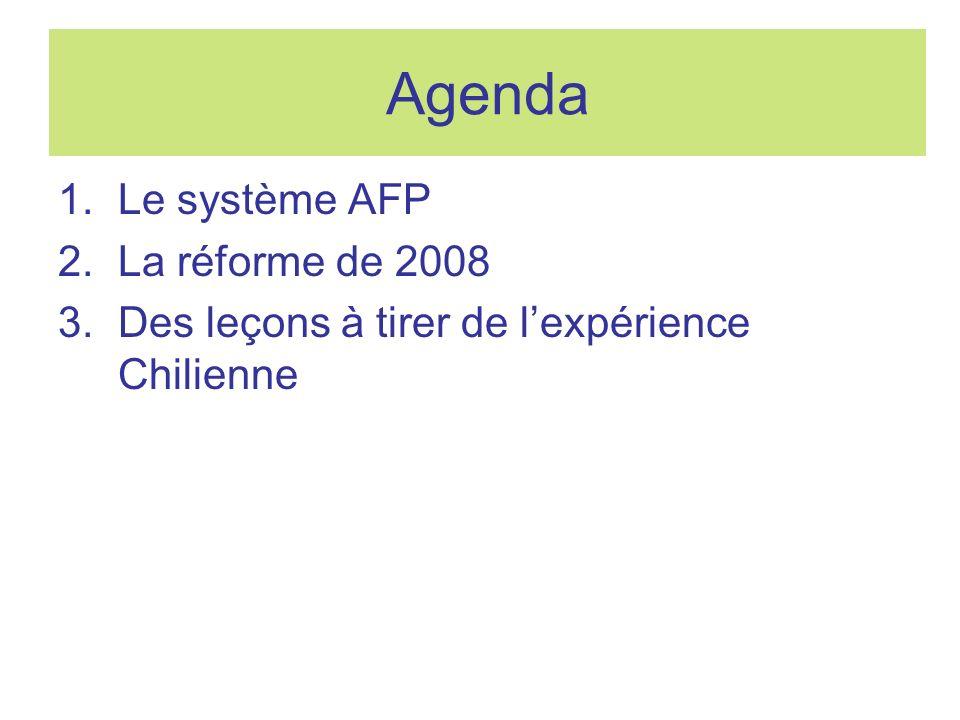 Agenda 1.Le système AFP 2.La réforme de 2008 3.Des leçons à tirer de lexpérience Chilienne