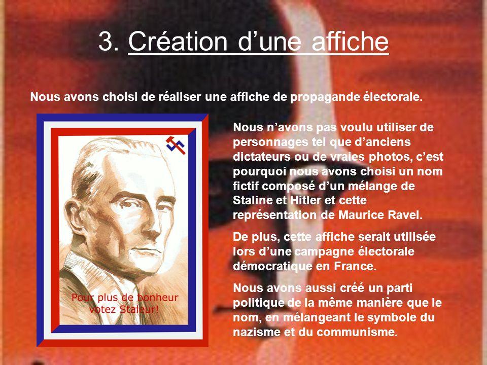 3. Création dune affiche Nous avons choisi de réaliser une affiche de propagande électorale. Nous navons pas voulu utiliser de personnages tel que dan