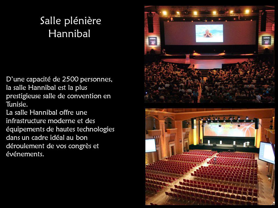 Salle plénière Hannibal Dune capacité de 2500 personnes, la salle Hannibal est la plus prestigieuse salle de convention en Tunisie. La salle Hannibal