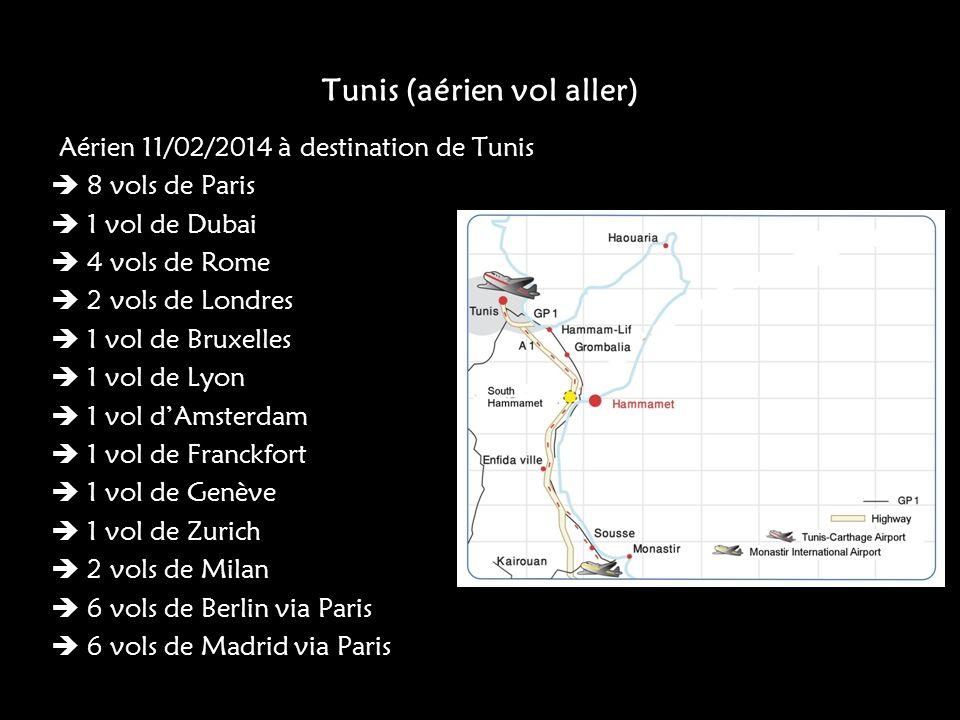 Tunis (aérien vol aller) Aérien 11/02/2014 à destination de Tunis 8 vols de Paris 1 vol de Dubai 4 vols de Rome 2 vols de Londres 1 vol de Bruxelles 1